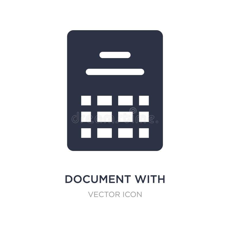documento com ícone das tabelas no fundo branco Ilustração simples do elemento do conceito de UI ilustração do vetor