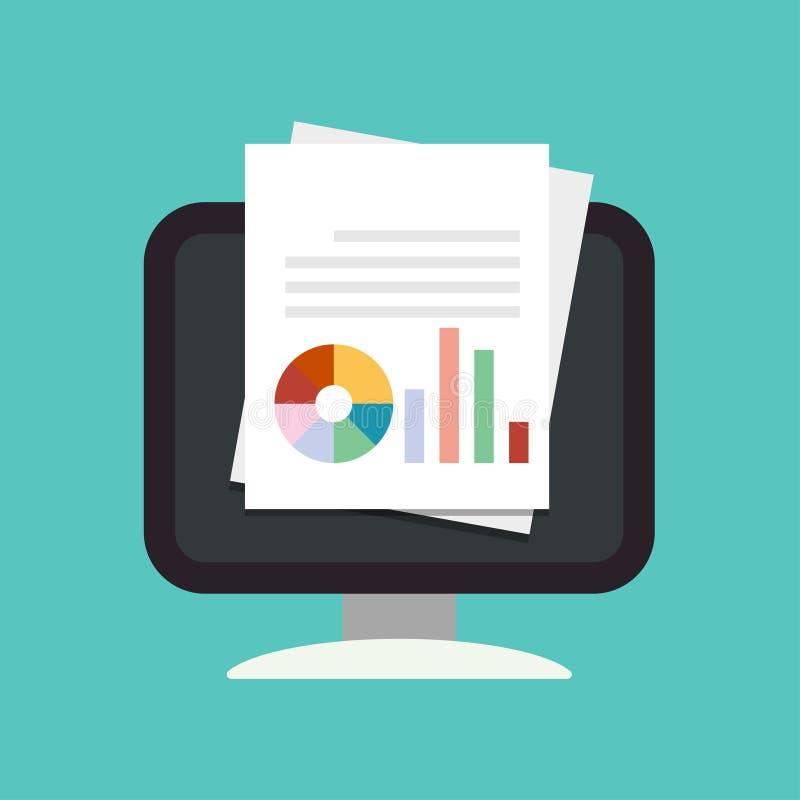 Documento com gráfico, ícone dos relatórios no computador Ilustra??o do vetor da an?lise de dados Estilo liso do projeto ilustração stock