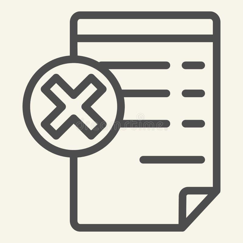 Documento com linha ícone do sinal do cancelamento Papel com a ilustração transversal do vetor isolada no branco Estilo do esboço ilustração stock