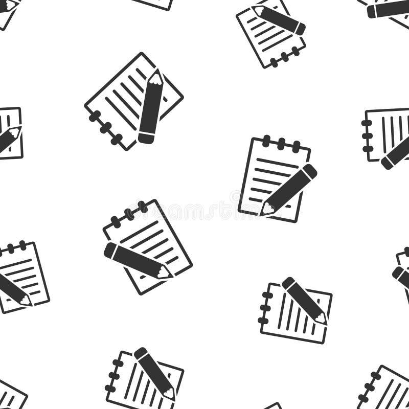 Documento con el fondo inconsútil del modelo del lápiz Negocio plano stock de ilustración