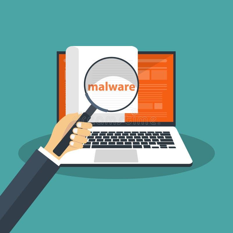 Documento con il malware in computer portatile Concetto del virus, della pirateria, di incisione e di sicurezza Insegna del sito  royalty illustrazione gratis