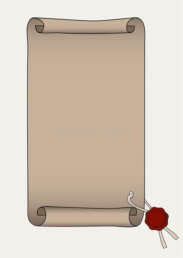 Documento con il sigillamento rosso della cera royalty illustrazione gratis