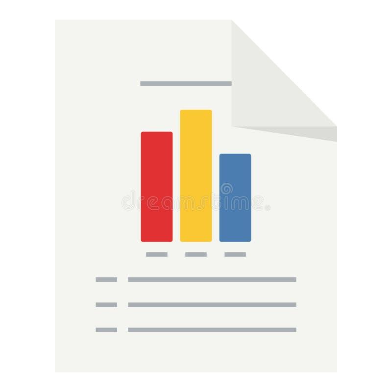 Documento con l'icona piana del grafico delle colonne illustrazione di stock