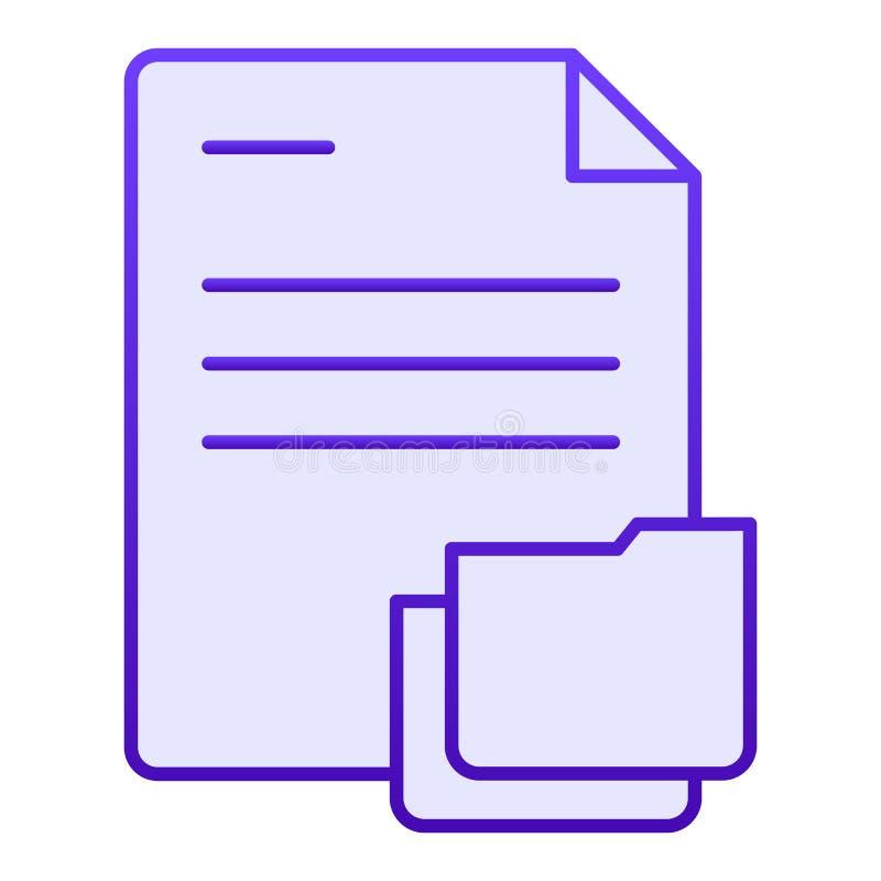 Documento con l'icona piana della cartella Carte nelle icone blu della cartella nello stile piano d'avanguardia Progettazione di  illustrazione vettoriale