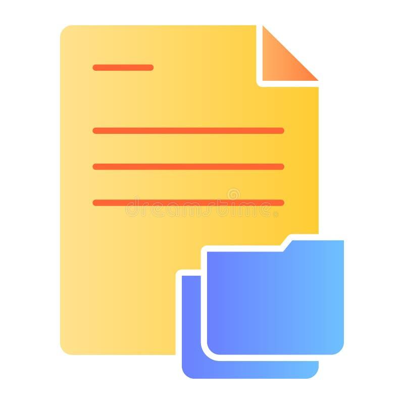 Documento con l'icona piana della cartella Carte nelle icone di colore della cartella nello stile piano d'avanguardia Progettazio illustrazione di stock