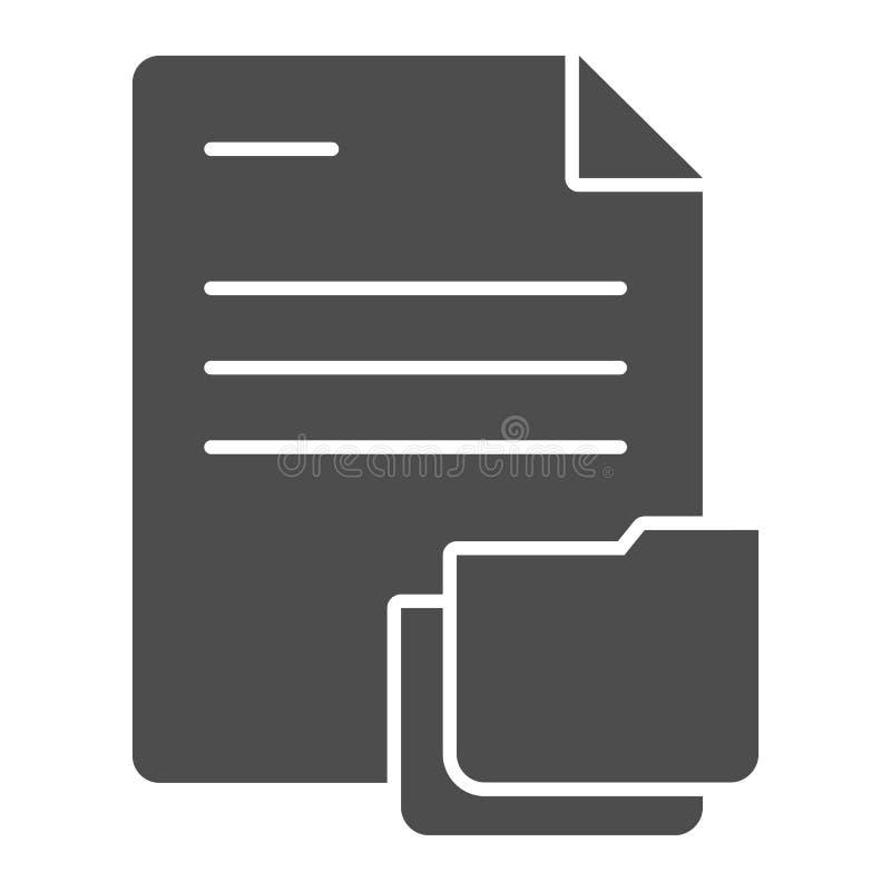 Documento con l'icona solida della cartella Carte nell'illustrazione di vettore della cartella isolata su bianco Progettazione di illustrazione di stock
