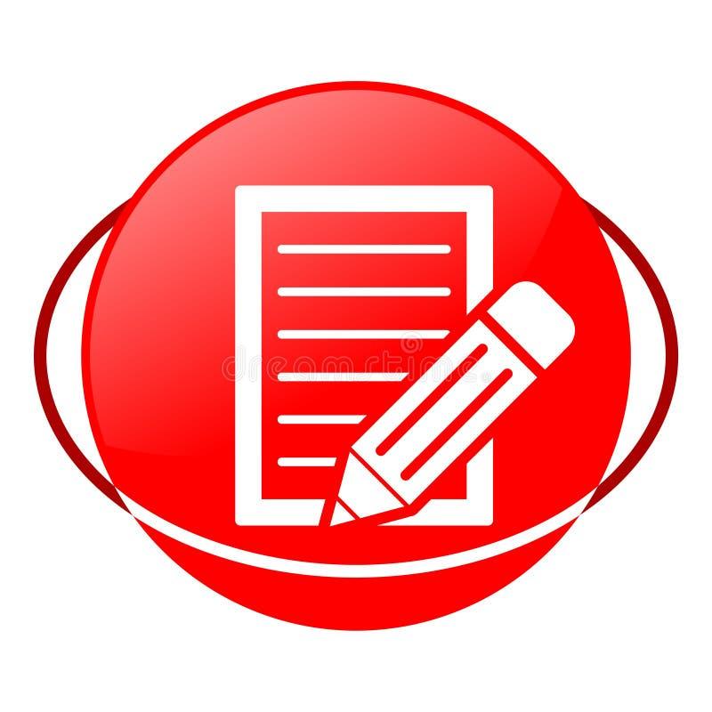 Documento con l'illustrazione di vettore della matita, icona rossa illustrazione di stock