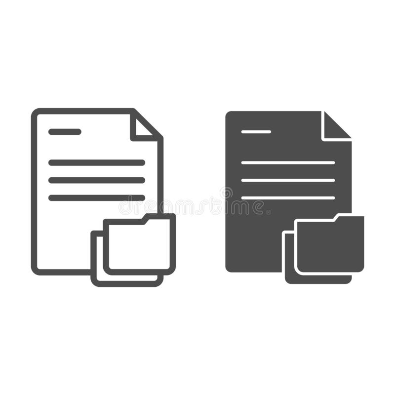 Documento con la linea della cartella e l'icona di glifo Carte nell'illustrazione di vettore della cartella isolata su bianco Sti illustrazione vettoriale