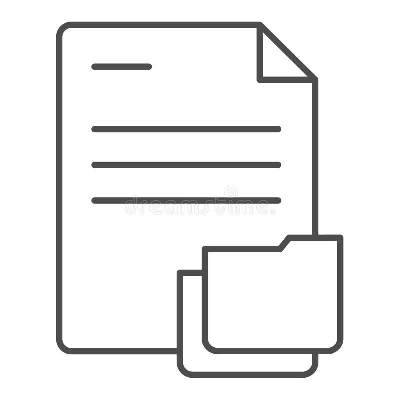 Documento con la linea sottile icona della cartella Carte nell'illustrazione di vettore della cartella isolata su bianco Progetta royalty illustrazione gratis