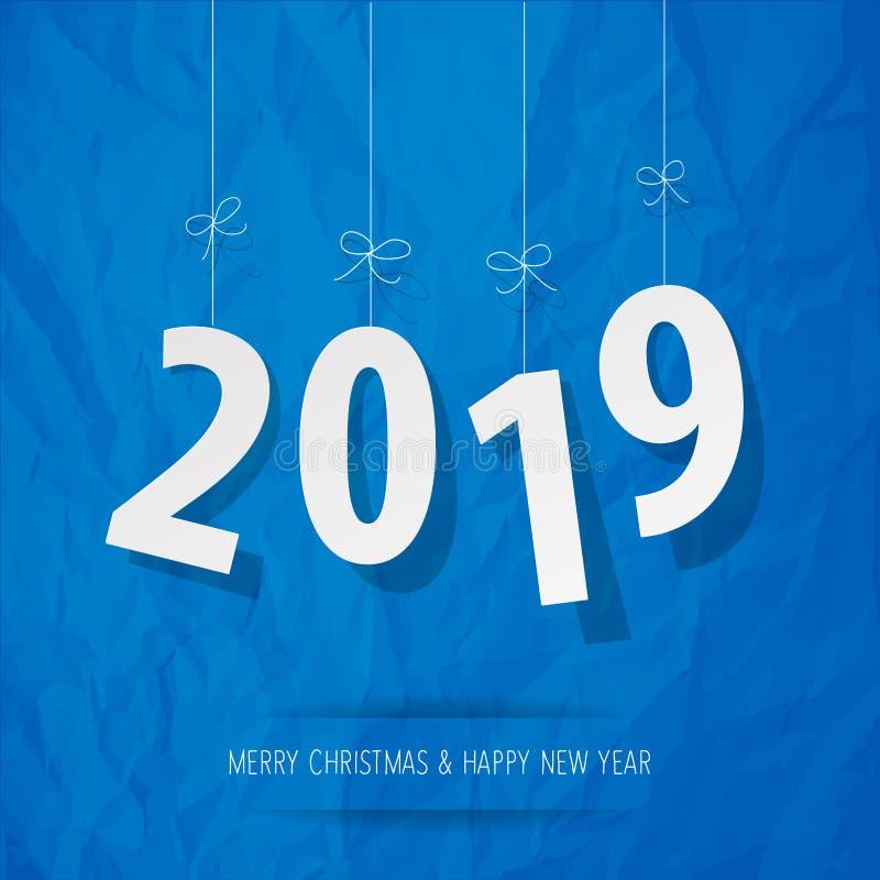 Documento 2019 dígitos blancos en un fondo azul de papel arrugado stock de ilustración