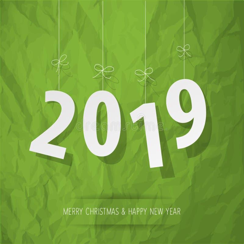 Documento 2019 dígitos blancos en un fondo verde de papel arrugado stock de ilustración