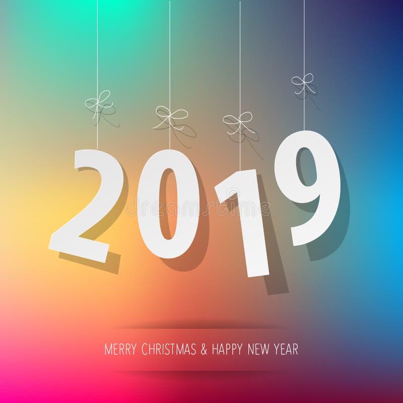 Documento 2019 dígitos en un fondo del bokeh del arco iris ilustración del vector
