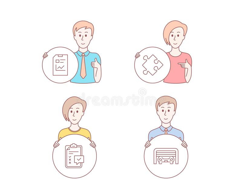 Documento da estratégia, do relatório e ícones da lista de verificação Sinal da garagem de estacionamento O enigma, estatísticas  ilustração royalty free