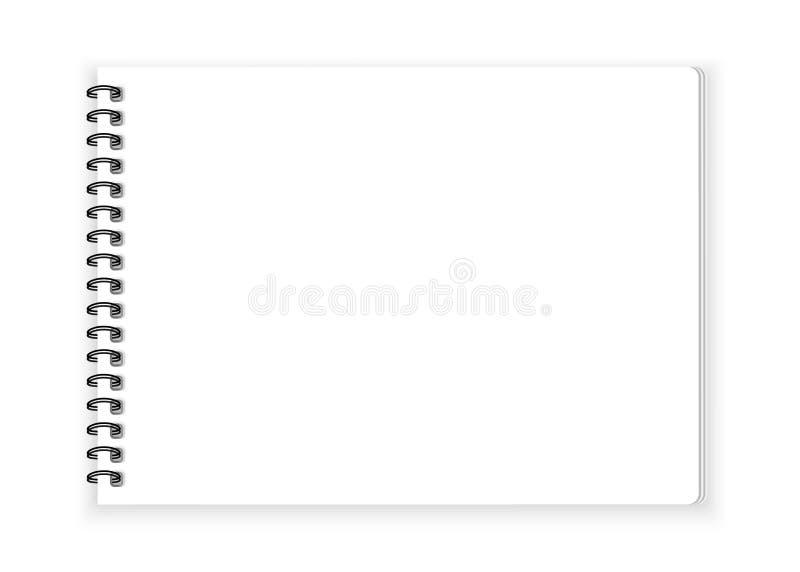 Documento de cuaderno espiral sobre el vector blanco del fondo stock de ilustración