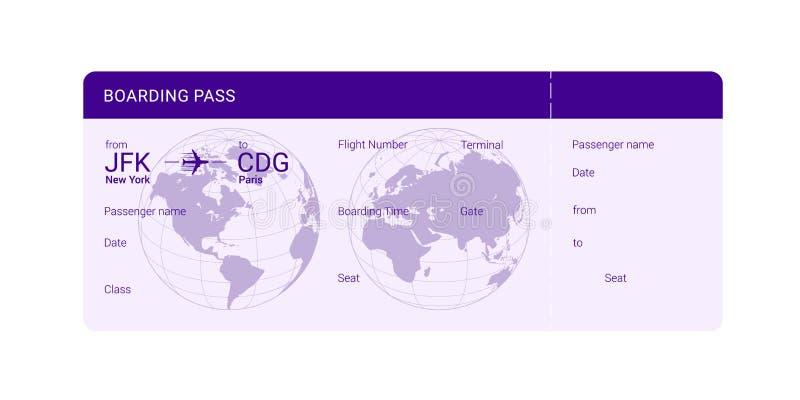 Documento de embarque violeta ilustración del vector