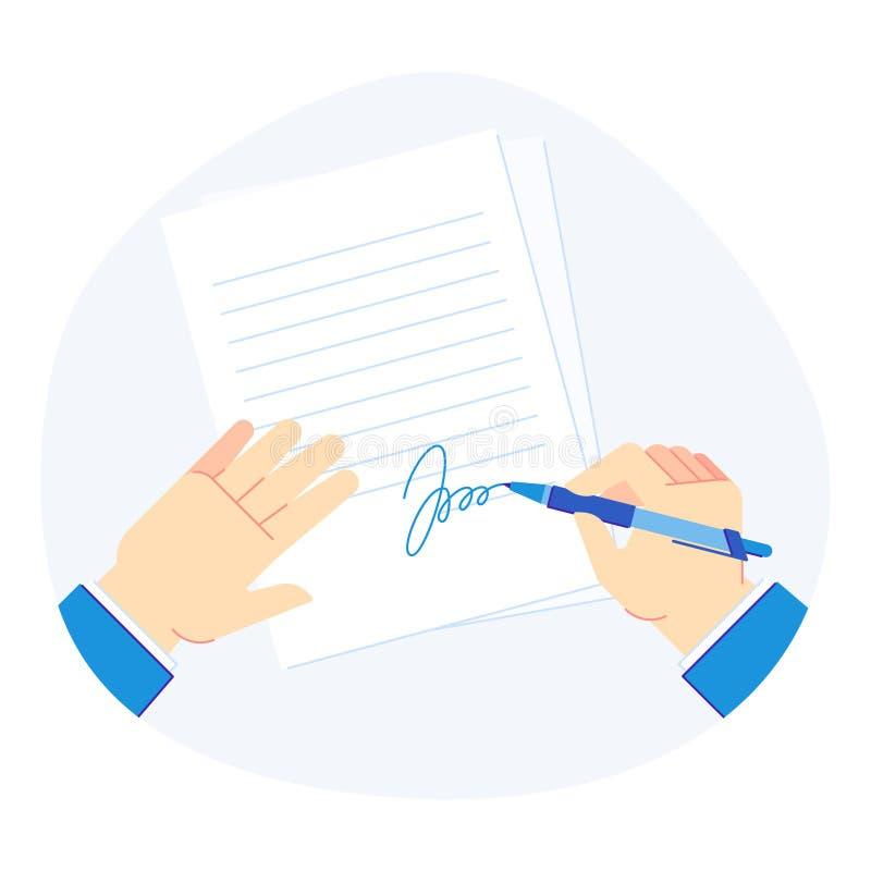 Documento de firma Pluma en mano del hombre de negocios, carpeta del tablero con los documentos de negocio y ejemplo firmado del  libre illustration