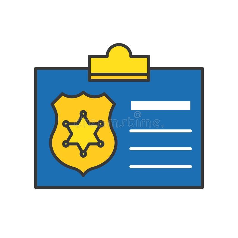 Documento de identidad de la policía, icono relacionado de la policía, stro editable del esquema stock de ilustración
