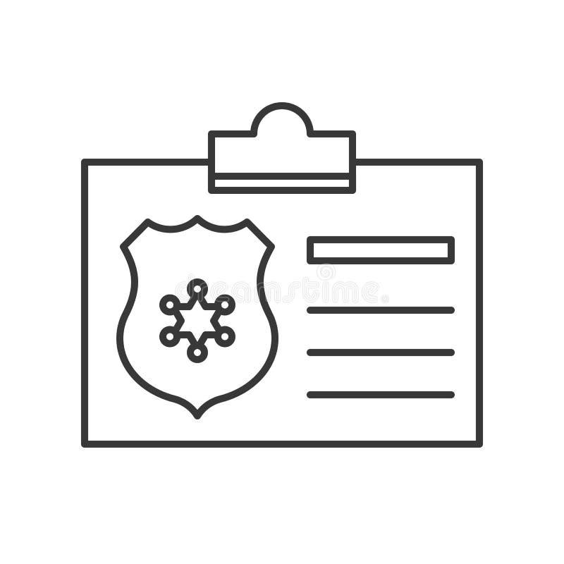 Documento de identidad de la policía, icono relacionado de la policía, stro editable del esquema ilustración del vector