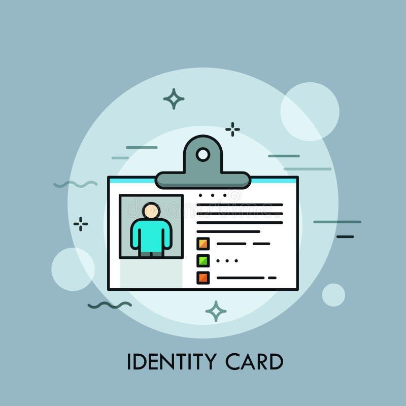 Documento de identidad plástico, identificación o pasaporte con la foto Concepto de identificación o de autentificación personal, ilustración del vector