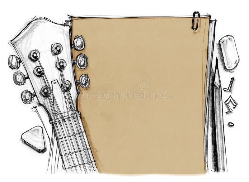 Documento de información con la guitarra y la selección ilustración del vector