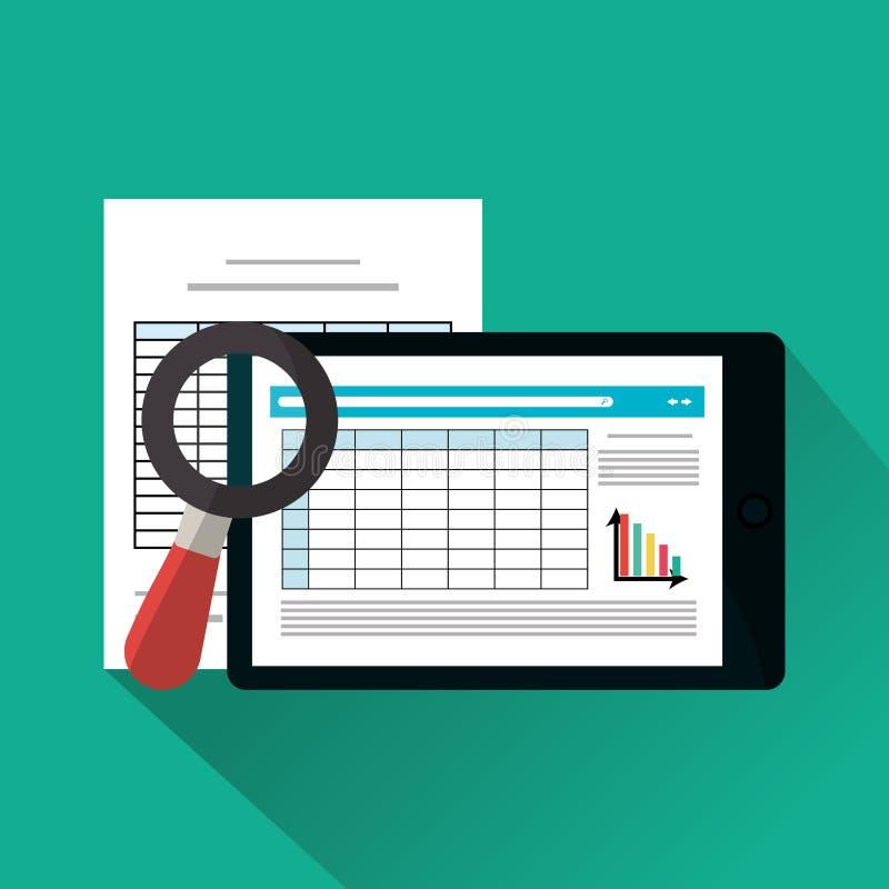 Documento de la factura y diseño de la tableta ilustración del vector
