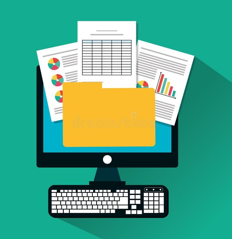 Documento de la factura y diseño del ordenador stock de ilustración