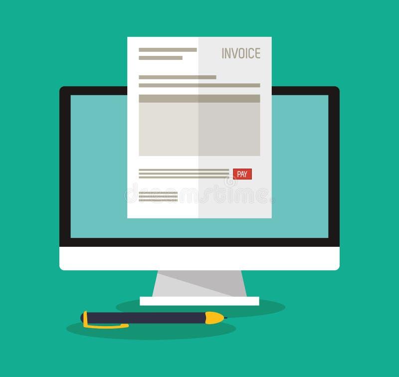 Documento de la factura y diseño del ordenador libre illustration