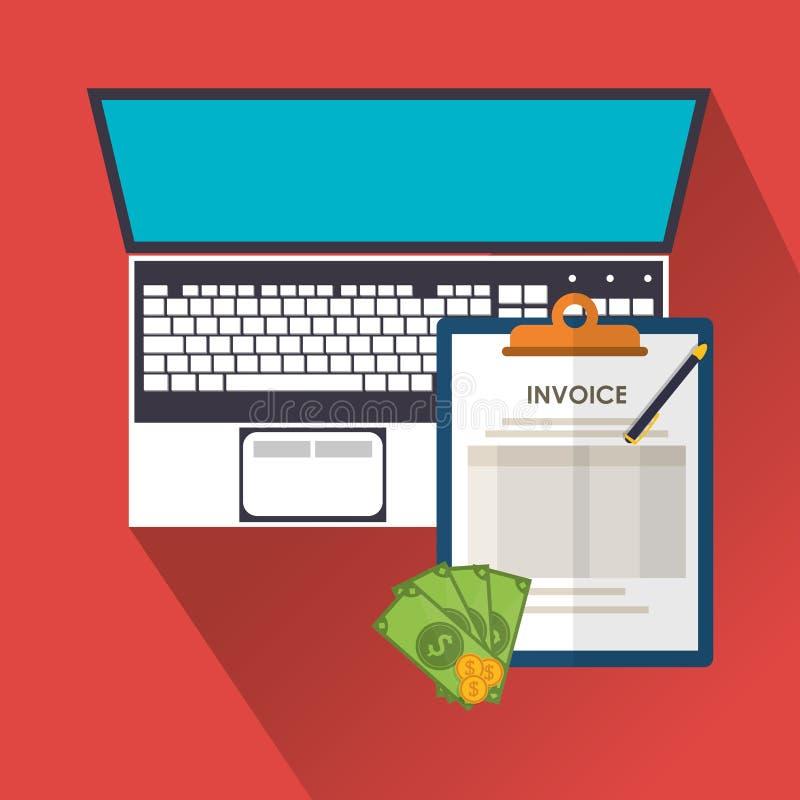 Documento de la factura y diseño del ordenador portátil libre illustration