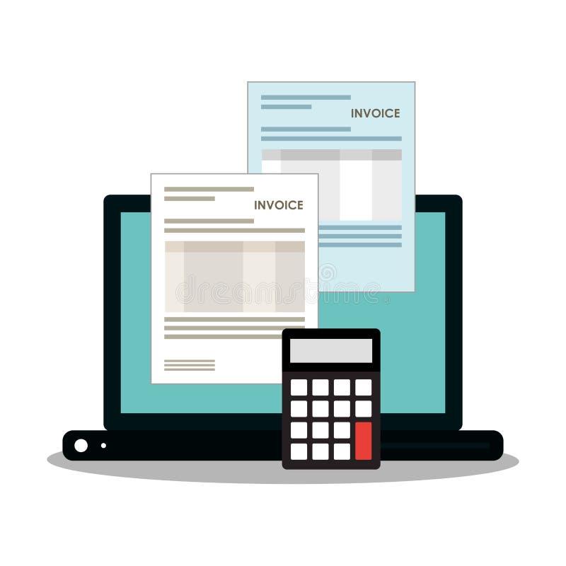 Documento de la factura y diseño del ordenador portátil ilustración del vector