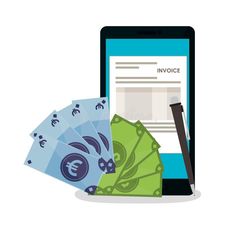 Documento de la factura y diseño del smartphone stock de ilustración