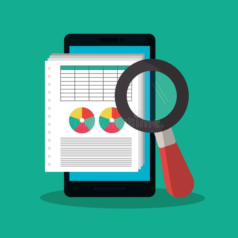 Documento de la factura y diseño del smartphone ilustración del vector