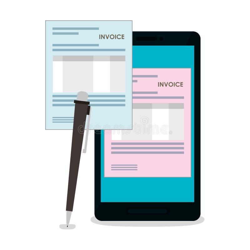 Documento de la factura y diseño del smartphone libre illustration