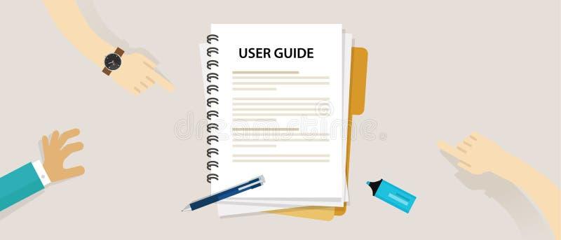 Documento de la guía de usuario en el manual del libro de tabla stock de ilustración