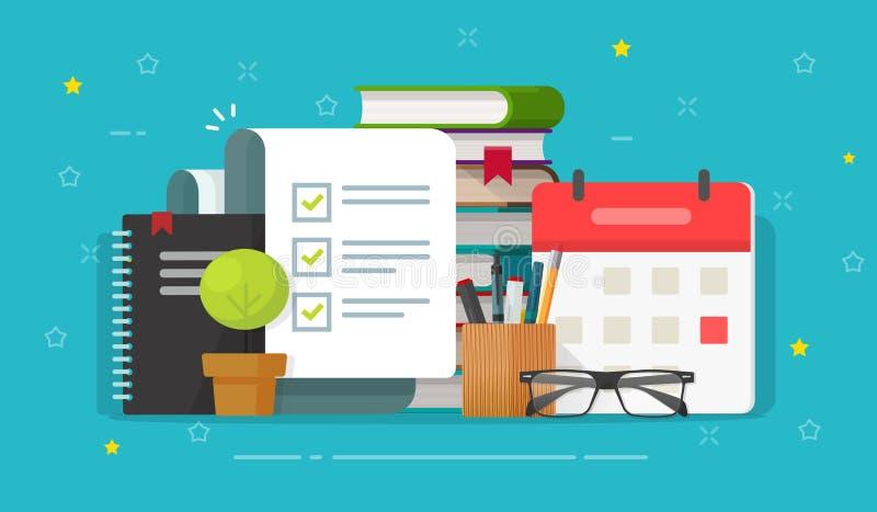 Documento de la lista de verificación en vector de escritorio del lugar de trabajo, formulario completo o hecho de la lista de co ilustración del vector