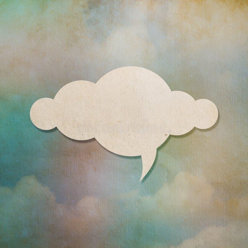 Documento de la nube sobre viejo fondo de papel colorido fotografía de archivo libre de regalías