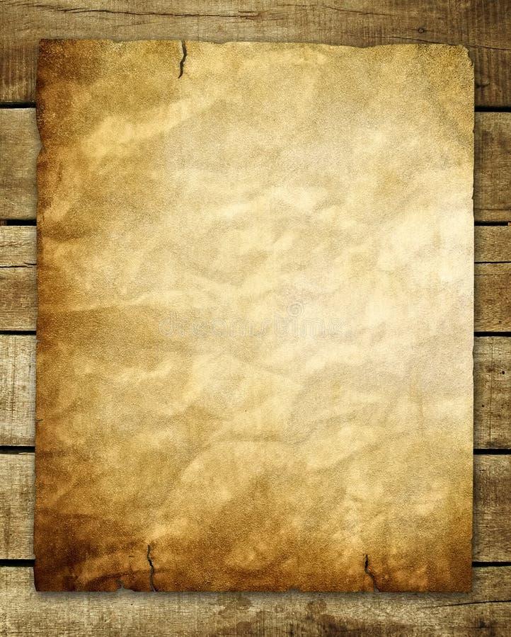 Documento de la vendimia sobre el fondo de madera stock de ilustración