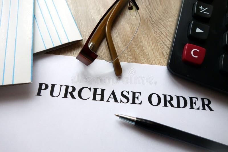 Documento de orden de compra foto de archivo