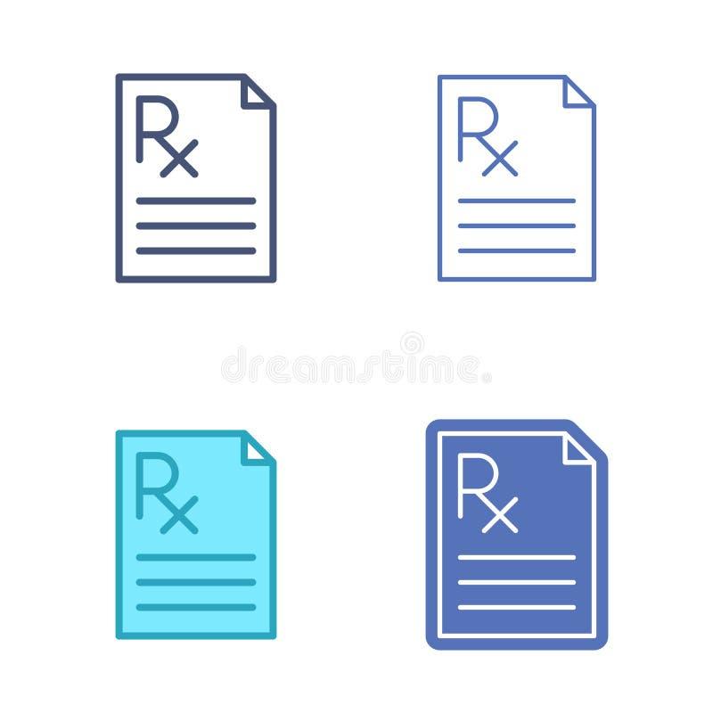 Documento de papel con símbolo de la prescripción Esquema del vector de la medicina ilustración del vector