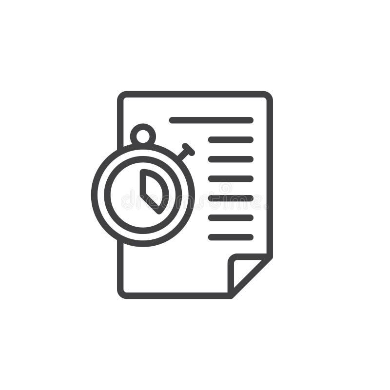 Documento de papel y línea icono del cronómetro ilustración del vector
