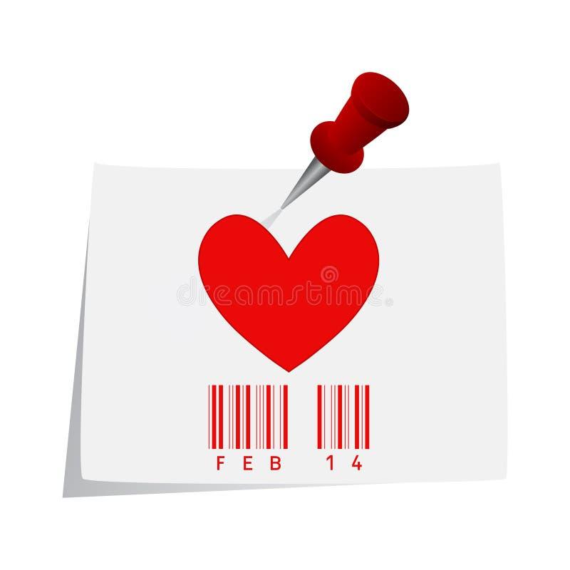 Documento del biglietto di S. Valentino royalty illustrazione gratis