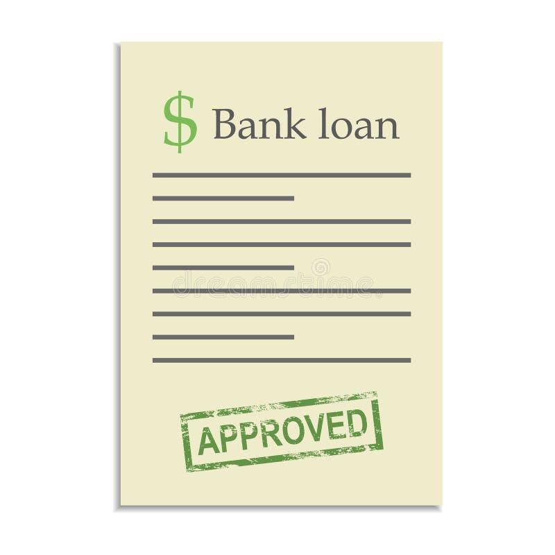 Documento del crédito bancario con el sello aprobado ilustración del vector