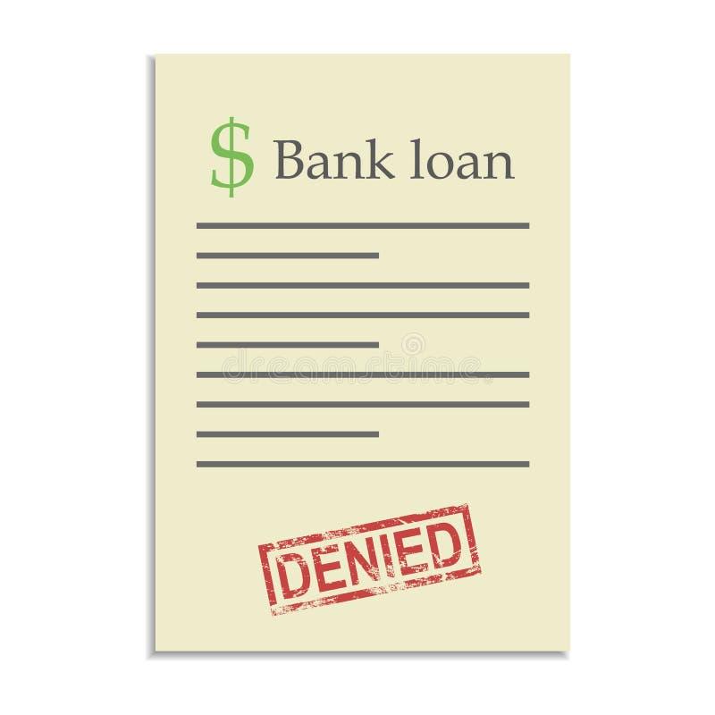Documento del crédito bancario con el sello negado ilustración del vector