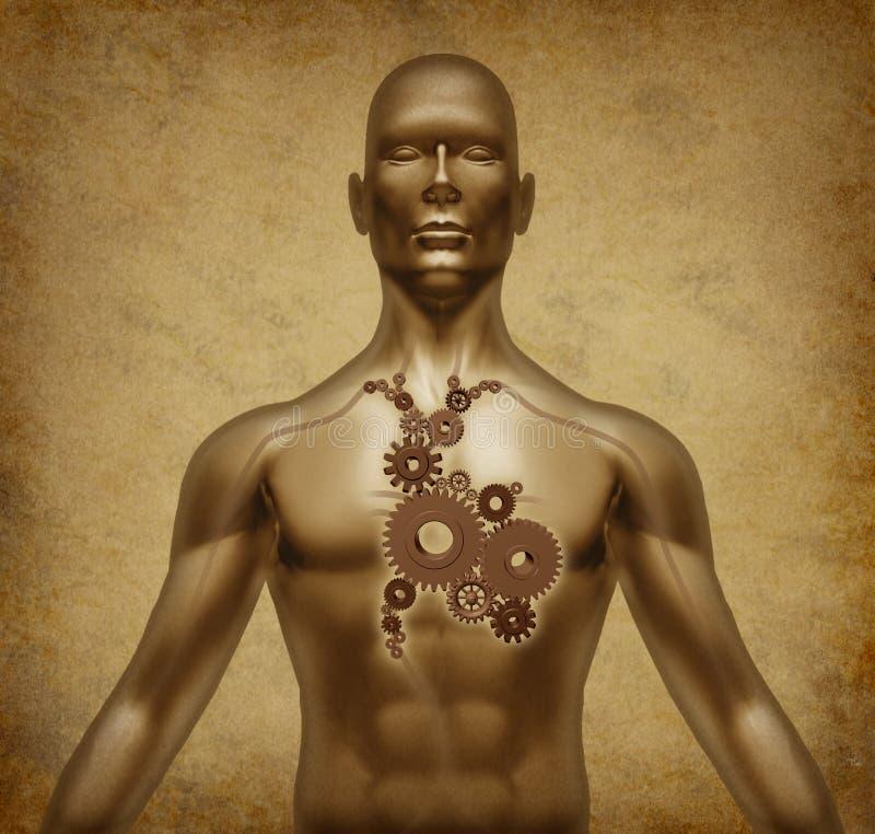 Documento del grunge del cuerpo humano viejo con las válvulas de corazón m stock de ilustración
