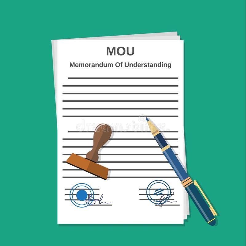 Documento del memorándum del Mou stock de ilustración