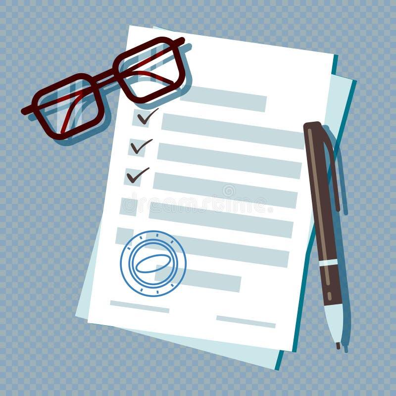 Documento del modulo di domanda di prestito isolato su fondo trasparente illustrazione di stock