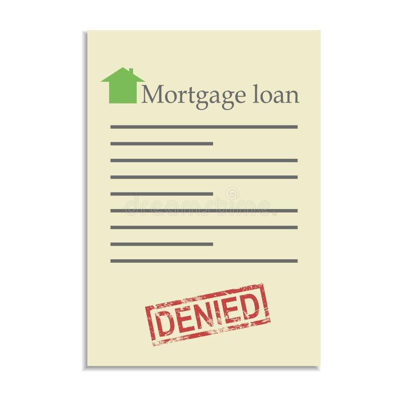 Documento del préstamo de hipoteca con el sello negado libre illustration