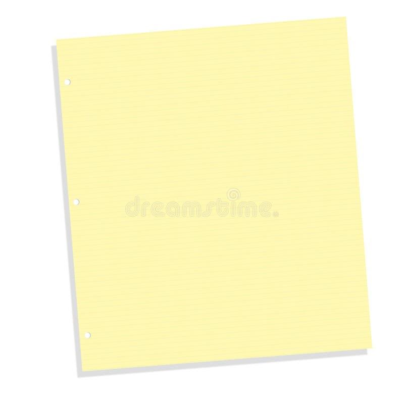 Documento del taccuino allineato colore giallo fotografia stock libera da diritti