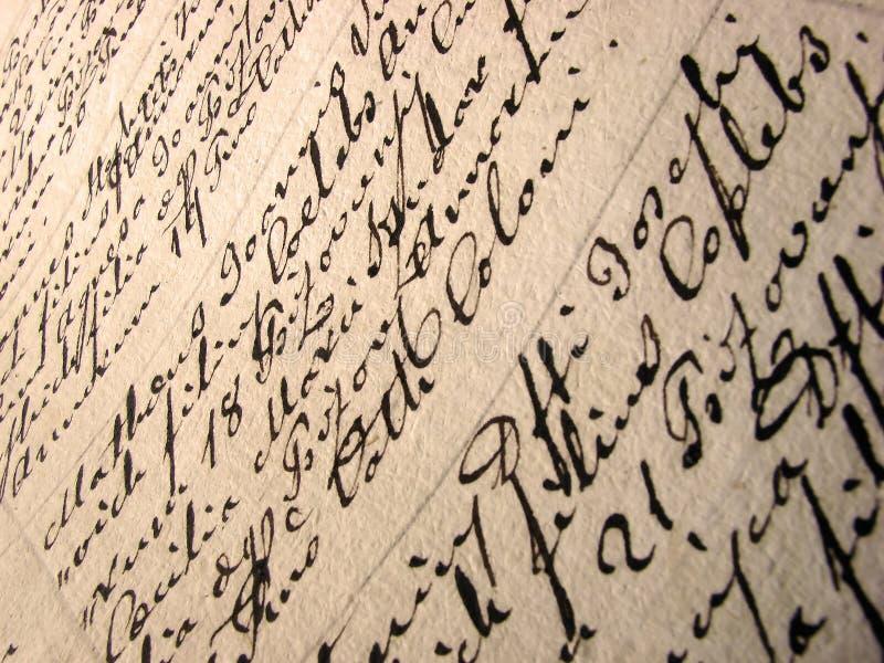 Documento della scrittura a mano dell'annata immagini stock libere da diritti