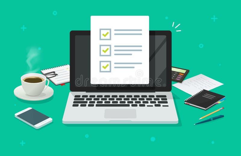 Documento di checklist nel notebook e nel vettore di ufficio Computer animato con documento dei segni di spunta o per eseguire l' illustrazione di stock