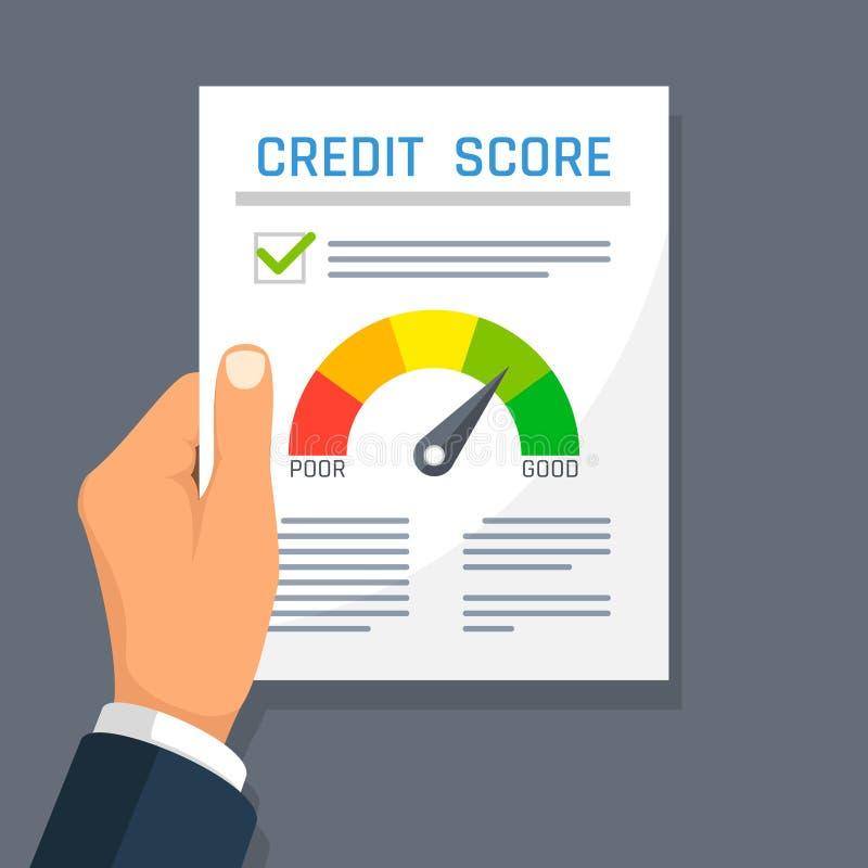 Documento di finanza di storia di credito della tenuta della mano dell'uomo d'affari con l'indicatore del punteggio Concetto di v illustrazione di stock